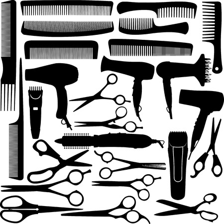 pair of scissors: Barber hairdressing salon equipment - hairdryer, scissors and comb Illustration