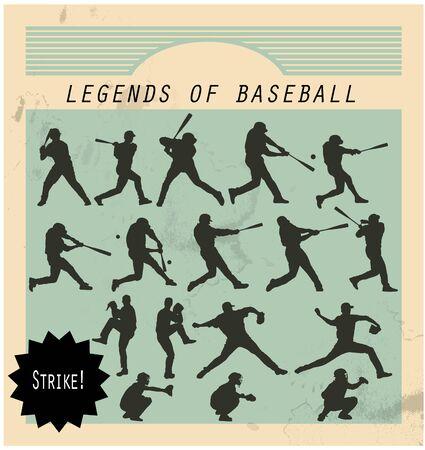 ballplayer: Ballplayer - silhouettes of baseball players on retro background
