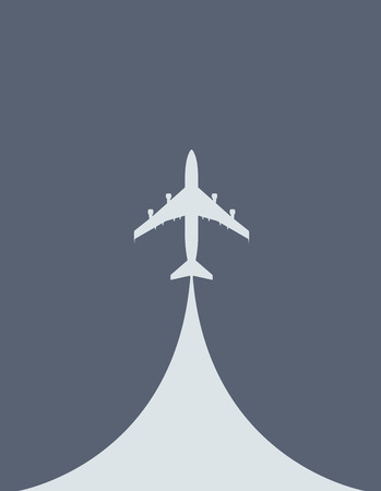 takeoff: Aircraft during the takeoff - silhouette of airliner, top view Illustration