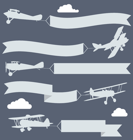 plane landing: Silhouettes of biplanes with wavy greetings banner