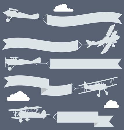 pancarta: Siluetas de los biplanos con saludos onduladas bandera