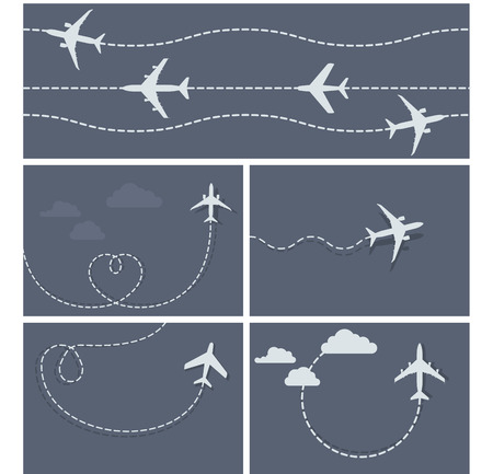 plane landing: Plane flight - dotted trace of the airplane, heart-shaped and loop