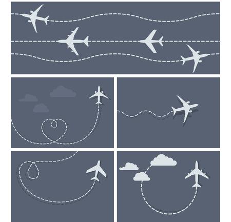 Vol d'avion - trace en pointillés de l'avion, et en forme de coeur boucle