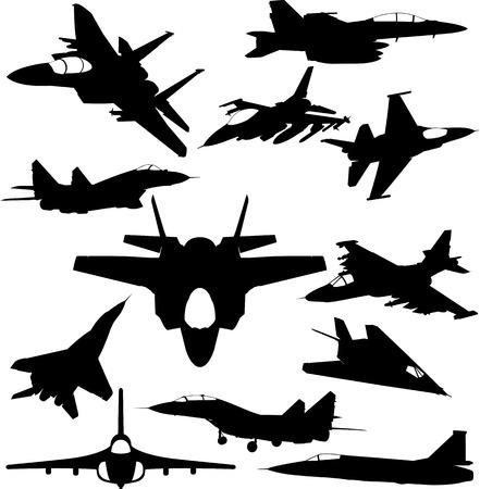 interceptor: Military jet-fighter silhouettes Illustration