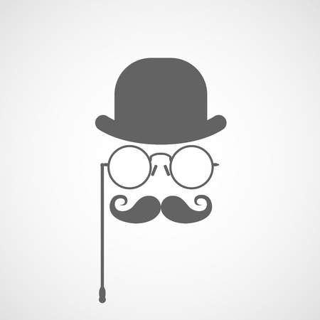 capitalist: Silhouette of gentlemans face with twisted moustaches, bowler and glasses - capitalist or hipster