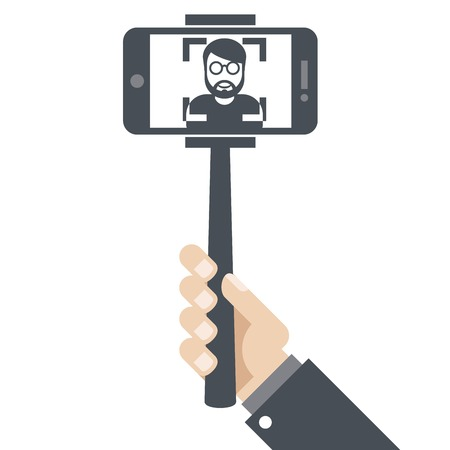 smartphone hand: Hand with smartphone on selfie stick