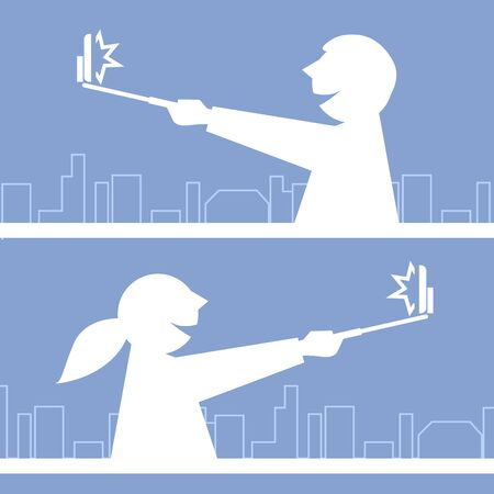 people traveling: Girl and boy taking a photo with selfie stick - traveling people Illustration