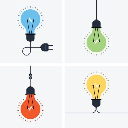 電球のシンプルなアイコン セット  イラスト・ベクター素材
