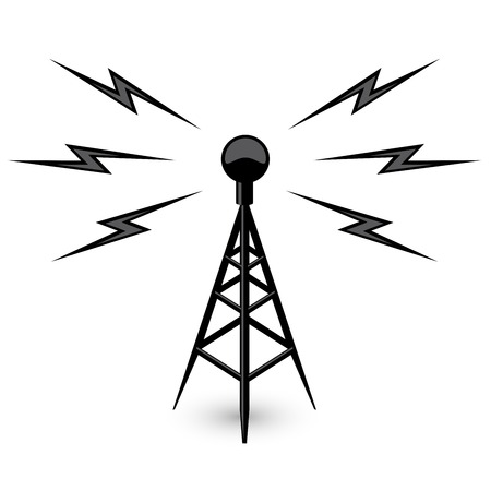 microwave antenna: Antenna - broadcast tower icon with lightning