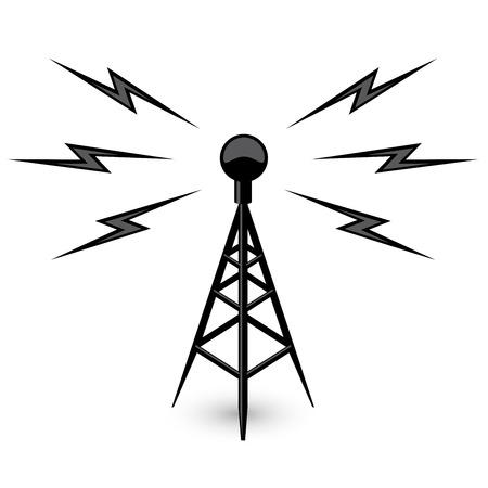 Antenna - uitzending toren pictogram met bliksem