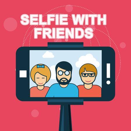 both: Selfie with friends - smartphone on selfie stick Illustration