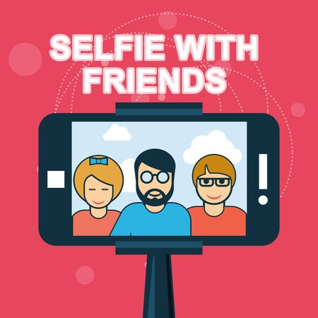 Selfie with friends - smartphone on selfie stick Illustration