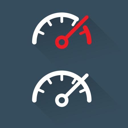 exceeding: Veloc�metro (calibre) Escala - sencillo icono Vectores
