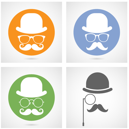 bourgeois: Silhouette of gentlemans face with moustaches, bowler and glasses - capitalist or hipster