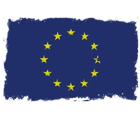 threadbare: Bandiera Threadbare dell'Unione europea Vettoriali