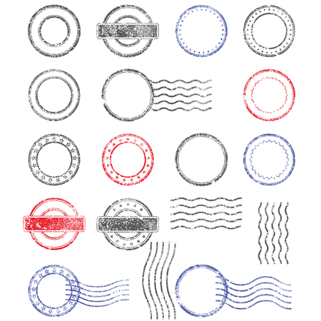 Blank templates of shabby postal stamps of round shape