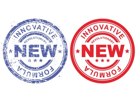 revolutionary: Grunge rubber stamp with inscription revolutionary new innovative formula Illustration
