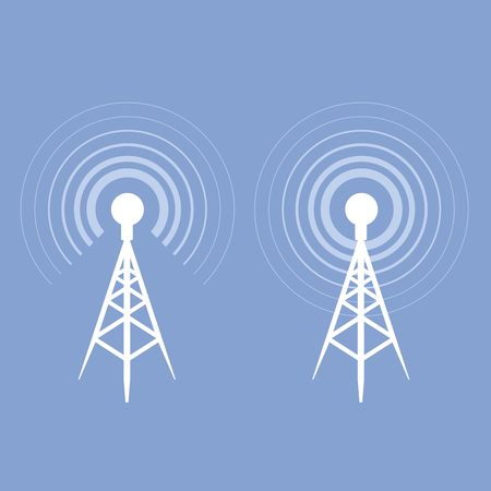microwave antenna: Broadcasting tower icon - antenna silhouette