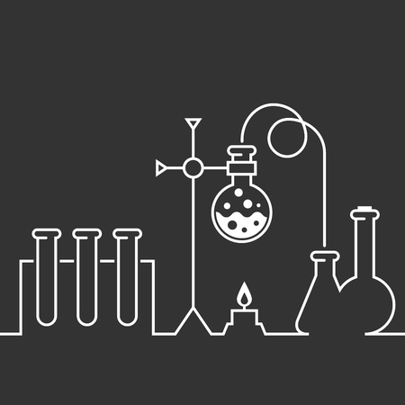 Chemical laboratory flat  style background with chemistry test-tubes and flasks