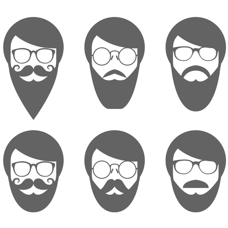 Face of bearded man - hipster in glasses with moustache