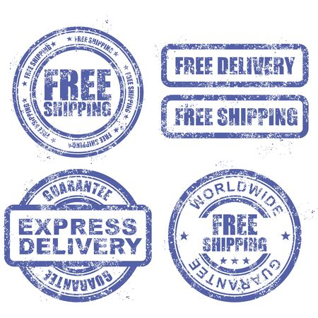 threadbare: Express delivery and free worldwide shipping - blue grunge stamps