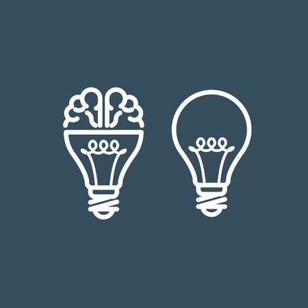 inventions: Brain in light bulb - idea and thinking concept