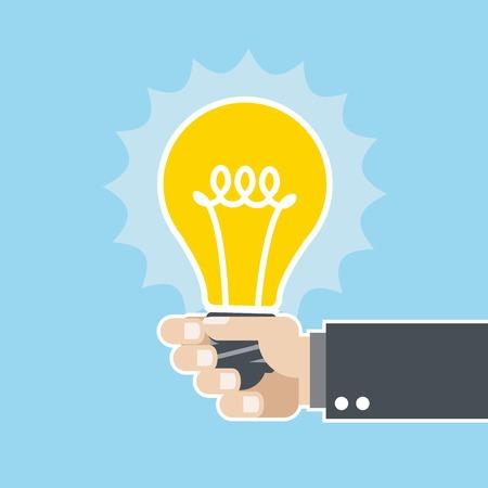 shining light: Idea innovadora - brillante bombilla en la mano Vectores