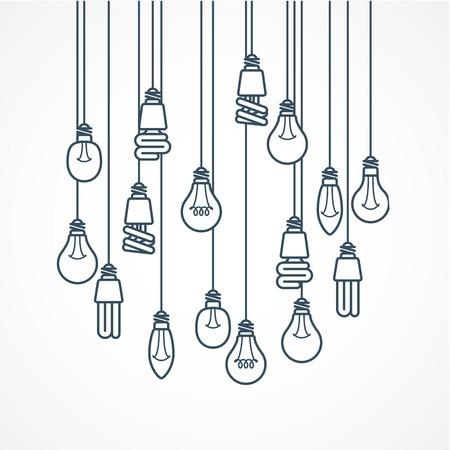 Gloeilamp hangen op koorden - lampen Stock Illustratie
