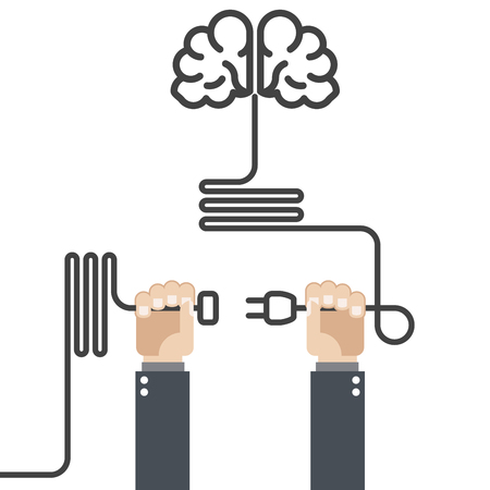 reasoning: Turn on your brain - hands with plug and cord Illustration