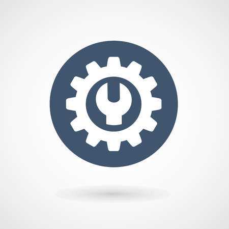 gear icon: Wrench, spanner and cogwheel - service icon