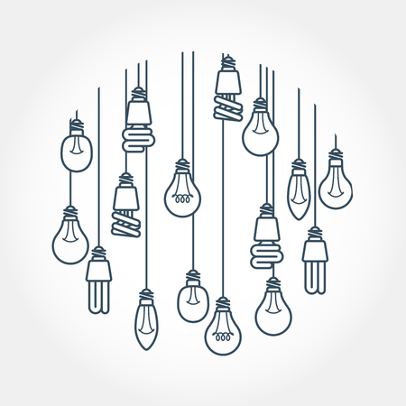 fixture: Circle of light bulb hanging on cords