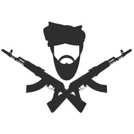 hostage: Man in turban two crossed AK-47, terroristm symbol Illustration