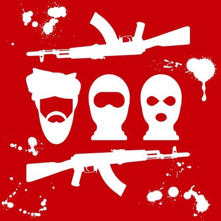 balaclava: Symbol of terrorism - man in turban, balaclava and two crossed AK-47