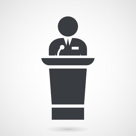 rostrum: Speaker makes a speech at meeting from tribune Illustration