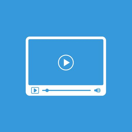 windows media video: Interface of simple video player with icons