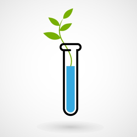 genetic modification: Test tube with sprout Illustration