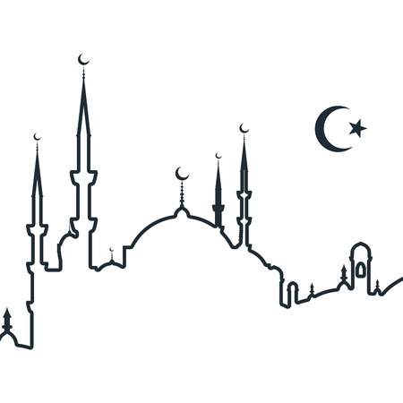 Silhouette of arabic city with mosque - symbols of Islam