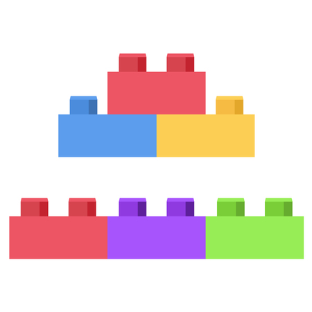 Plastic bouwsteen - speelgoed constructie set Vector Illustratie