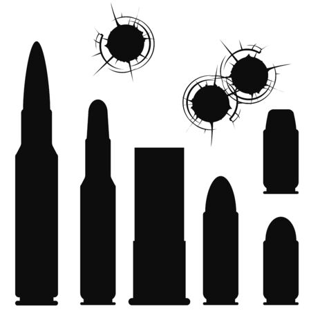 gunshot: Bullet, cartridge case and bullethole with cracks Illustration