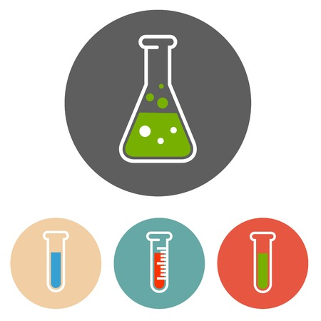 Liquid in flask and test tubes - chemical laboratory equipment icons Иллюстрация