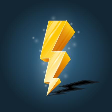 Golden, gevorkte bliksem pictogram met glitters Stock Illustratie