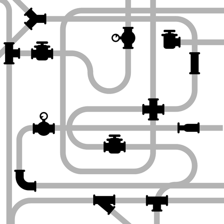sewage system: Pipeline junctions with valves and stopcock Illustration