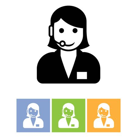 customer support: Customer support service icon - call center assistant with headphones Illustration