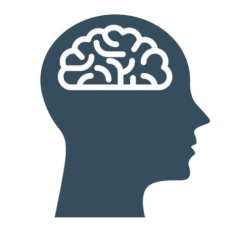 Peronal IQ - cabeza con el cerebro, la inteligencia y el símbolo del conocimiento
