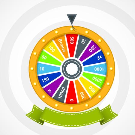 rueda de la fortuna: Cartel con la rueda de la fortuna con la bandera curvada