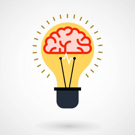 conceptual bulb: Brain in light bulb - creative thinking or idea conceptual icon