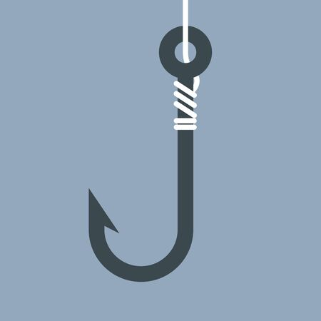 fishing line: Hook and fishing line - simple icon Illustration