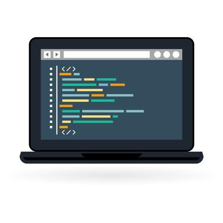 Programmering en codering icon - website ontwikkeling op laptop scherm Vector Illustratie