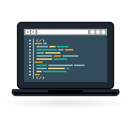 screen: Programming and coding icon - website development on laptop screen