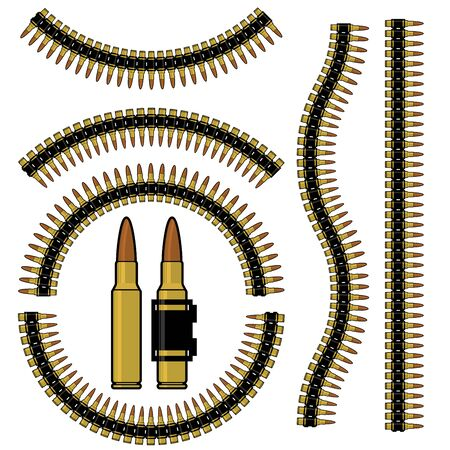caliber: Bullet and machinegun cartridge belt in different shapes